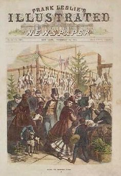 """1865 Shopping for Christmas Dinner. Hand colored woodcut engraving from Frank Leslie's Illustrated Newspaper, titled """"Buying the Christmas Turkey."""" Shows a crowd of holiday shoppers inspecting birds in an open air market"""