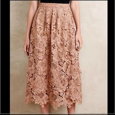 "Anthropologie appliqué midi Drawing inspiration from French lace, antique ribbon and vintage lingerie, Moulinette Soeurs creates exquisitely tailored pieces with intricate seams and meticulous attention to detail. Polyester lace; polyester lining. Flattering full silhouette with back zipper detail, 33""L Anthropologie Skirts Midi"