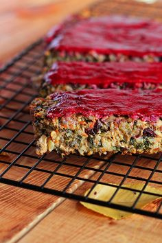 The Ultimate Vegan Thanksgiving Loaf with Cranberry Glaze (Gluten & Soy Free) via ilovevegan.com