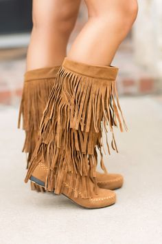 Fall Boots, Fringe Boots, Vegan Suede Boots, Minnetonka Inspired Boots- Three Layer Fringe Moccassins by Jane Divine Boutique www.janedivine.com