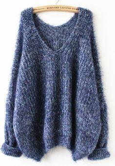 Navy Long Sleeve V Neck Oversize Mohair Sweater - abaday.com