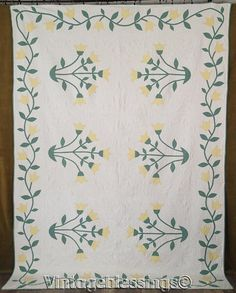 """$195 Spring Beauty! Vintage 30s Densely Quilted YELLOW TULIPS Applique QUILT 98x71"""""""