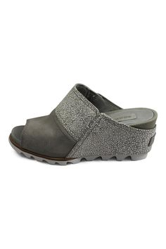 Sorel Joanie Wedge.  UPPER: Suede upper. FOOTBED: Pigskin lining and footbed. MIDSOLE: Molded BPU-PU wedge. OUTSOLE: Molded rubber outsole.  Heel Height: 2 3/4 in. Platform Height: 3/4 in. Weight: 11.5 oz / 341 g. Measurements based on size 7.  Grey Wedge Sandal by Sorel. Shoes - Wedges British Columbia Canada