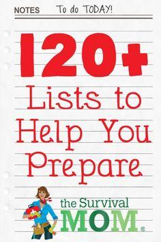 Survival and Prepping Lists! A List of Lists - Survival Mom Survival Food, Survival Prepping, Survival Skills, Survival Hacks, Survival Quotes, Survival Stuff, Doomsday Survival, Prepper Food, Survival Videos