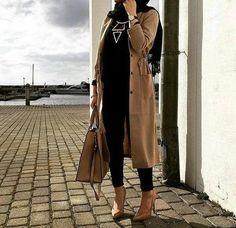 Tan long trench jacket hijab look 500x484