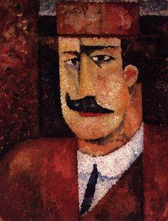 """Portrait of Francisco Cardoso"" 1912 by Amadeo de Souza-Cardoso, (Portuguese 1887-1918)"