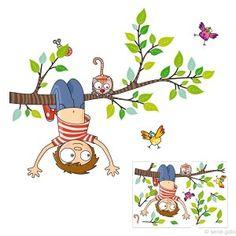 Stickers C'est le printemps ! Stickers muraux Série Golo by Ségo Durand, Sticker nature, sticker chambre enfant ou pour préparer la chambre de bébé