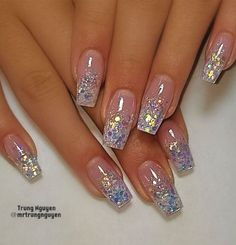 40 Fabulous Nail Designs That Are Totally in Season Right Now - clear nail art designs,almond nail art design, acrylic nail art, nail designs with glitter Picture For yellow nails For Your TasteYou are looking for someth Nail Design Glitter, Glitter Tip Nails, Bling Nails, Gel Nails, Toenails, Clear Nails With Glitter, Clear Nails With Design, Acrylic Nails Almond Glitter, Pink Sparkly Nails
