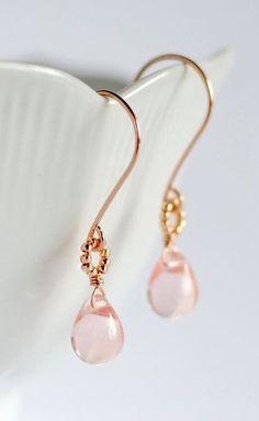 Rose gold earrings pink glass earrings rose