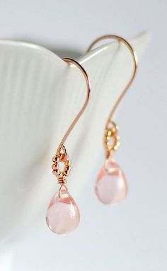 Rose gold earrings pink glass earrings rose
