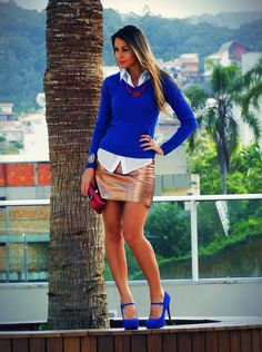 Electric blue + Metallized Skirt