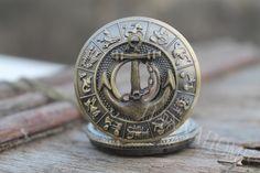 Anchor pocket watch pirates Pendant Necklace man Jewelry Vintage. $3.40, via Etsy.