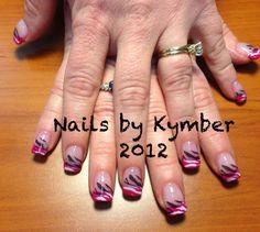 Pink French Tips with Gradient White to Black Zebra Stripes.   Www.clawsnpaws.netl