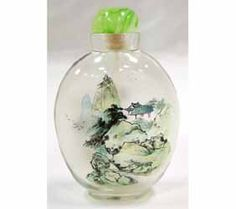 Chinese Handmade Inside painted landscape/&Autumn scenery glass Snuff Bottle