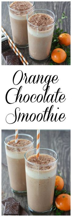 Orange Chocolate Smoothie on www.cookingwithruthie.com is a healthy and delicious protein packed way to start your day!