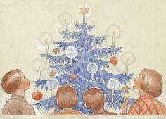 RUDOLF KOIVU | Osastot | Korttien Talo Blue Christmas, Christmas Is Coming, All Things Christmas, Christmas Cards, Christmas Pictures, Illustrators, Fine Art, Winter, Cute