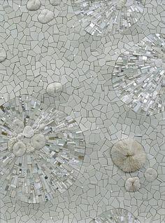 "Permafrost glass, ceramic, coral, white gold, smalti, quartz, silver, marble, rock crystal, seashell, pearls, aluminum, selenite, abalone, pebbles ""- Sonia King via Quinquabelle"