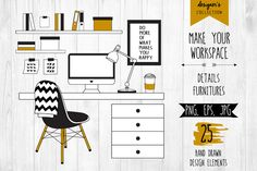 Hand Drawn Office Elements by lokko studio. Vectors and PNG files for Photoshop and Illustrator.