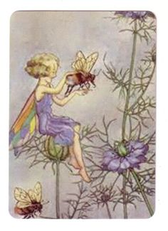 Fairy Girl on Kisses in The Mist  Flowers -- Linen Modern Wide Swap Playing Card