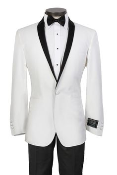 mens black white tuxes | White Tuxedo with Black Shawl Lapel - Includes Black Trousers