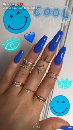 Beautiful blue nails, nice and long, blue fake nails in a cool beautiful blue colour Aycrlic Nails, Sexy Nails, Coffin Nails, Nails 2016, Blue Acrylic Nails, Acrylic Nail Designs, Neon Blue Nails, Gorgeous Nails, Pretty Nails