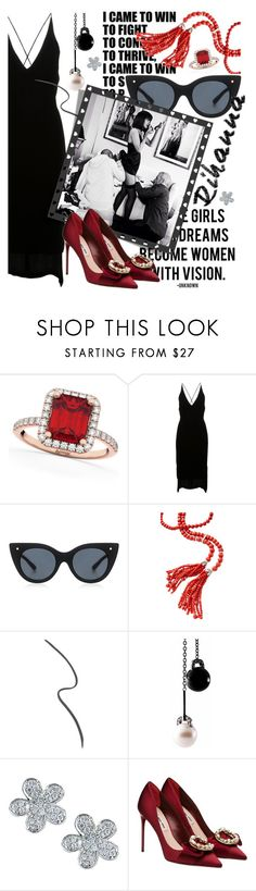 """""""Get the Look: Rihanna"""" by cultofsharon ❤ liked on Polyvore featuring Nicki Minaj, Allurez, Dion Lee, Le Specs Luxe, Gucci, EWA and Miu Miu"""