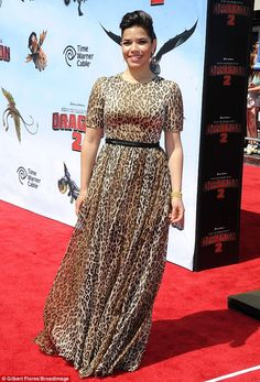 America Ferrera attends the How to Train Your Dragon 2 premiere in Los Angeles on Sunday