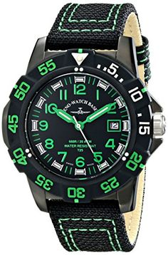 Zeno Men's Divers Analog Display Quartz Black Watch by Zeno -- Awesome products selected by Anna Churchill M 4, Green Accents, Basel, Black Fabric, Casio Watch, Quartz, Display, Shopping, Wrist Watches