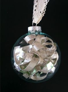 Christmas ornament made with wedding invitation or birth announcement.