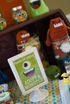 Friendly Monster Party favors Adopt a Duck sign Monster Party Games, Little Monster Party, Monster Inc Party, Cookie Monster Party, Monster Mash, Monster Birthday Parties, 3rd Birthday Parties, 2nd Birthday, Kid Parties