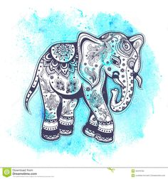 Vintage elephant illustration with blue watercolor background Tribal Elephant, Elephant Trunk, Vintage Elephant, Elephant Love, Elephant Tattoos, Henna Elephant, Elephant Sketch, Elephant Illustration, Watercolor Illustration