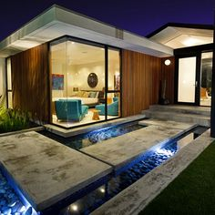 Closer look at the entry to this renovated mid-century modern home in Southern California. Credit: Crosby Doe Associates, Inc.