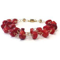Red Bracelet Coral Jewelry Multistrand Gemstone by jewelrybycarmal, $54.00