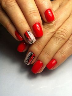 Discover new and inspirational nail art for your short nail designs. Red Nail Designs, Short Nail Designs, Colorful Nail Designs, Super Nails, Nail Decorations, Stylish Nails, Nail Manicure, Red Nails, Short Nails