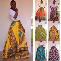 African Dashiki Print Women's High Waist Party Boho Ankara Maxi Long Skirt Dress