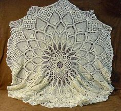 Online Marketplace for Goodwill thrift stores Crochet Tablecloth Pattern, Crochet Doily Diagram, Crochet Bedspread, Crochet Doily Patterns, Crochet Motif, Crochet Designs, Crochet Doilies, Hand Crochet, Crochet Cross