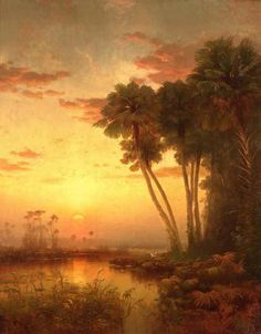 McCord, George Herbert Sunset on St. John's River 1878 Oil on canvas The Ogden Museum Watercolor Landscape, Landscape Paintings, Fine Art Prints, Framed Prints, Paintings I Love, Oil Paintings, Vintage Florida, Tropical Art, States America