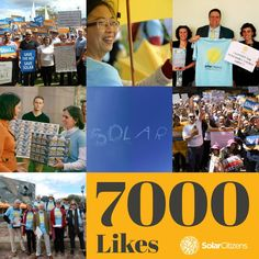 Thanks for helping us reach 7000 Likes and congratulations James Skinner for being our 7000th Facebook fan!  The Solar Citizens movement is growing as more Australians go solar and support swells. Here is a selection of what we've achieved since we hit 6000 Likes two months ago.  LIKE AND SHARE to invite your friends and family to become a Solar Citizen and help create a strong solar future for all Australians.