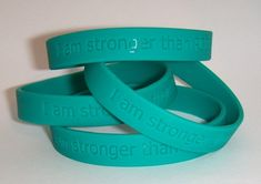 "PCOS Awareness Wrist Band Bracelet-- ""I am stronger than PCOS"""