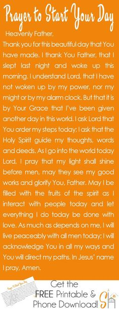 Prayer to Start Your Day | Socialhermit.me Talking to God first thing in the morning is a great way to set the tone for the day and ask the Holy Spirit to walk with you all day long.::