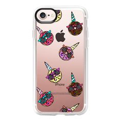 Funny Unicorn Sunglasses Wearing Sprinkled Donuts - iPhone 7 Case And... ($40) ❤ liked on Polyvore featuring accessories, tech accessories, iphone case, iphone cover case, clear iphone case, iphone cases, unicorn iphone case and apple iphone case