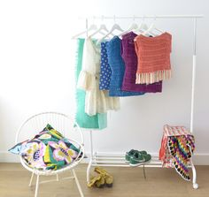 Crocheted sweater - byClaire - crochet patterns, books and yarn Crochet Shawl, Wardrobe Rack, Diy Crafts, Inspiration, Chair, Furniture, Home Decor, Garne, Scarfs