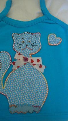 Camiseta ribana infantil com Gatinho