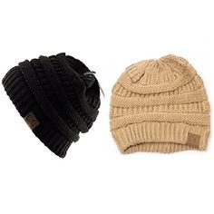 C.C Trendy Warm Chunky Soft Stretch Cable Knit Slouchy Beanie Skully HAT20A (One Size, 2 PACK BLACK/NEW BEIGE)