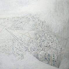 Cluster. (1) 120cm x 120cm Oil, Graphite, wax, paper and Gesso on canvas. http://helenbooth.com