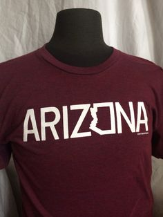 267bfc1f057ad0 ARIZONA Tee in Cranberry - Unisex American Apparel Tee Shirt- S, M, L