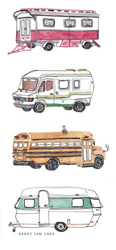 Vintage caravans by Sanny van Loon | Illustration | Camping | Sketchbook | Watercolor | Schoolbus | Trailer www.sannyvanloon.com