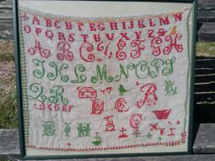 Alphabet Sampler Large Victorian Sampler Antique French Cotton Tulle Monogram Red Green Hand Embroideries Museum Piece  #sophieladydeparis
