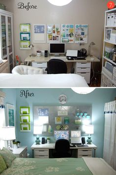 Guest/office/crafts! If I end up having kids I may need to combine some rooms. Home Office Inspiration, Office Ideas, Office Designs, Room Inspiration, Design Inspiration, Bedroom Office Combo, Small Bedroom Office, Home Office Space, Desk Space