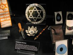 Hermetic Order of the Golden Dawn - W. B. Yeat's pentacle, wand, dagger, lotus wand top, tattwa cards, and second order sash